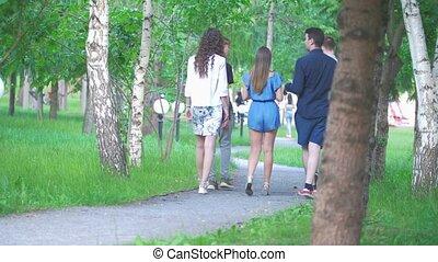 лето, гулять пешком, парк, молодой, friends, задний, посмотреть