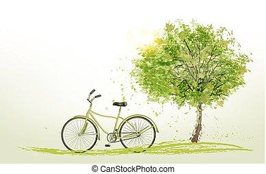 лето, задний план, with, , зеленый, дерево, and, , bike., vector.