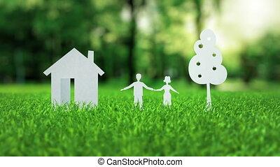 лето, концепция, ипотека, семья, дом, дерево, бумага, зеленый, белый, трава, анимация, хороший