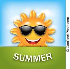 лето, круто, солнечные очки, счастливый, солнце
