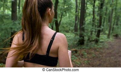 лето, обучение, спортивный, спортивное, весна, leaves, молодой, длинные волосы, lots, зеленый, лес, path., время года, в течение, девушка, fallen
