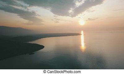лето, около, восход, байкал, озеро, трутень