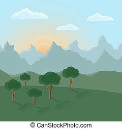 лето, пейзаж, with, mountains