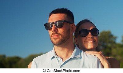 лето, пляж, счастливый, пара