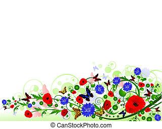 лето, рамка, иллюстрация, многоцветный, цветочный, горизонтальный