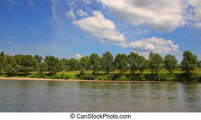 лето, река, кастрюля, пейзаж