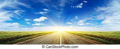 лето, утро, дорога, панорама