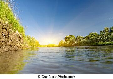 лето, river.