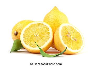 лимон, with, зеленый, лист
