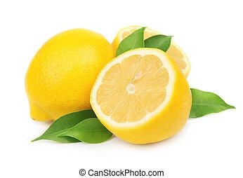 лимон, with, leaves