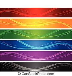 линия, волнистый, banners, красочный