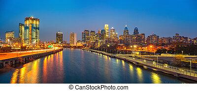 линия горизонта, schuylkill, филадельфия, ночь, река, usa.
