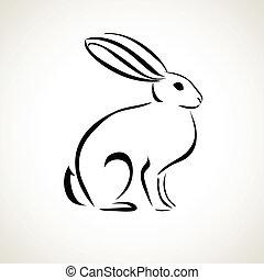 линия, рисование, кролик