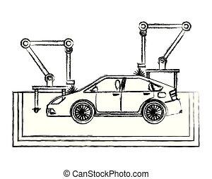 роботизированный конвейер по сборке автомобилей