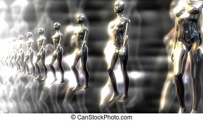 , линия, of, меркурий, женщины, walking.