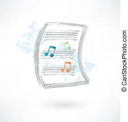 лист, значок, гранж, музыка