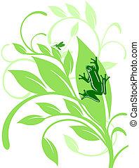 лист, лягушка