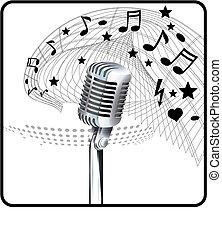 лист, микрофон, музыка