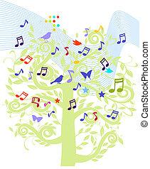 лист, музыка, дерево
