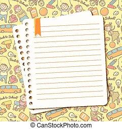 лист, текст, порванный, блокнот, вектор, задний план,...