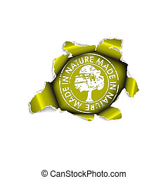 лист, -, экологический, пункт, бумага, органический, дыра