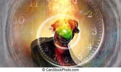 лицо, зеленый, черный, яблоко, suit., человек