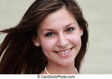 лицо, портрет, of, , красивая, молодой, девушка