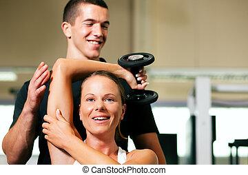 личный, тренер, в, гимнастический зал