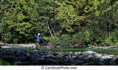 ловит рыбу, боковая сторона, посмотреть, лес, рыбак, солнечно, день, поток, яркий, 4k