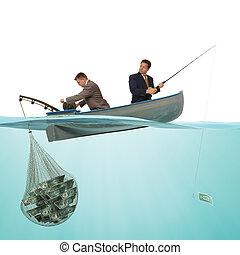 ловит рыбу, для, бизнес