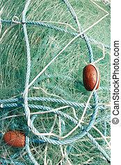 ловит рыбу, сеть