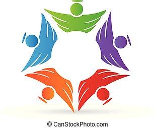 логотип, ангел, командная работа, единство, люди, значок