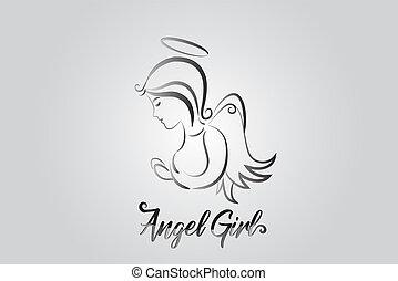 логотип, ангел, praying