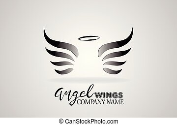 логотип, ангел, wings, значок, вектор