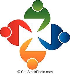 логотип, вектор, встреча, люди, командная работа