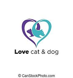 логотип, вектор, люблю, собака, кот