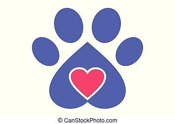 логотип, вектор, люблю, собака
