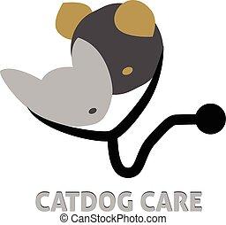 логотип, ветеринарный, собака, кот