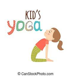 логотип, дизайн, isolated, kids, йога