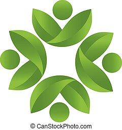 логотип, здоровье, вектор, командная работа, природа