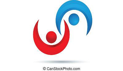логотип, командная работа, handshaking