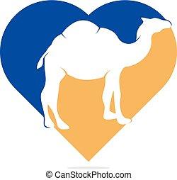 логотип, концепция, верблюд, сердце, форма