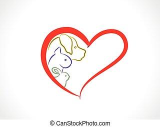логотип, кот, внутри, сердце, кролик, собака, вектор