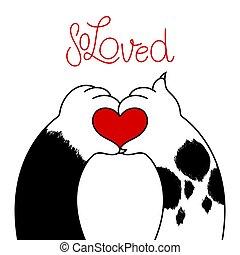 логотип, кот, люблю, форма, сердце, собака