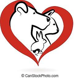 логотип, кот, птица, кролик, собака