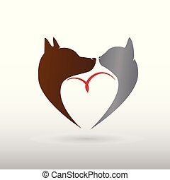 логотип, кот, птица, собака