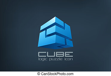 логотип, куб, технологии, abstract., логика, головоломка, коробка, icon.