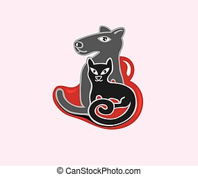 логотип, люблю, собака, кот