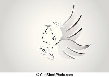 логотип, немного, ангел, praying