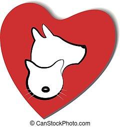 логотип, сердце, люблю, собака, кот